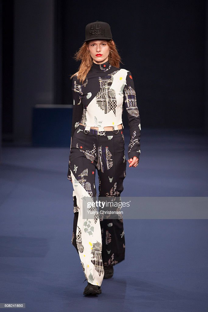 A model walks the runway at the Lala Berlin show during the Copenhagen Fashion Week Autumn/Winter 2016 on February 3 2016 in Copenhagen Denmark