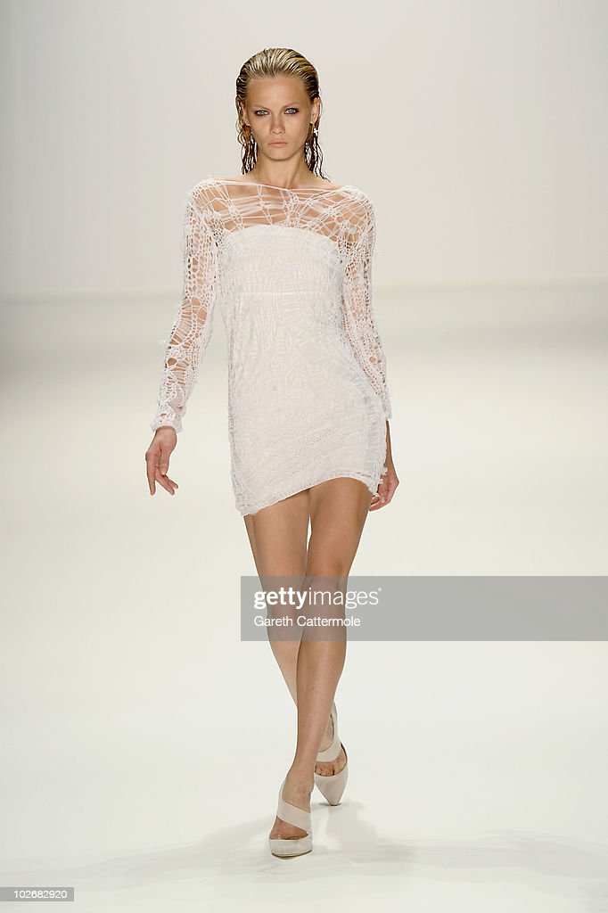 A model walks the runway at the Lala Berlin Show during the Mercedes Benz Fashion Week Spring/Summer 2011 at Bebelplatz on July 7 2010 in Berlin...