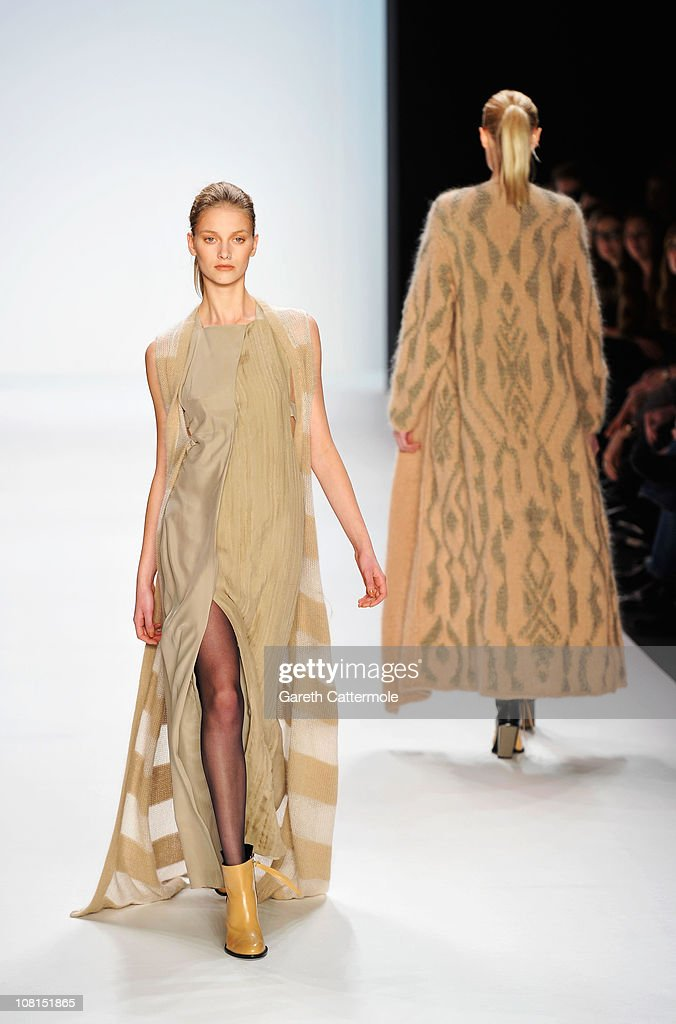 A model walks the runway at the Lala Berlin Show during the Mercedes Benz Fashion Week Autumn/Winter 2011 at Bebelplatz on January 19 2011 in Berlin...