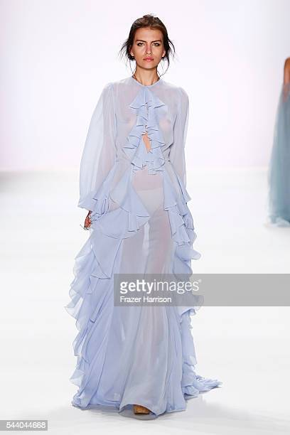 A model walks the runway at the Lana Mueller show during the MercedesBenz Fashion Week Berlin Spring/Summer 2017 at Erika Hess Eisstadion on July 1...
