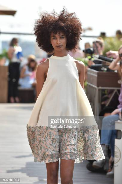A model walks the runway at the Lana Mueller show during the MercedesBenz Fashion Week Berlin Spring/Summer 2018 at Weekend on July 6 2017 in Berlin...