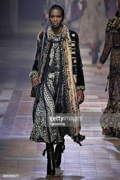 A model walks the runway at the Lanvin Autumn Winter 2015 fashion show during Paris Fashion Week on March 5 2015 in Paris France