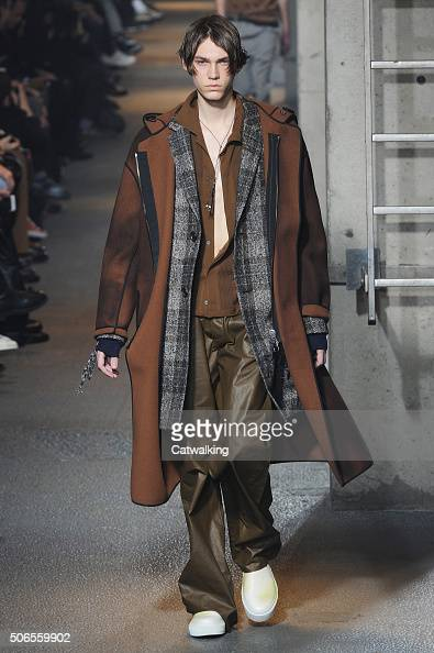 A model walks the runway at the Lanvin Autumn Winter 2016 fashion show during Paris Menswear Fashion Week on January 24 2016 in Paris France
