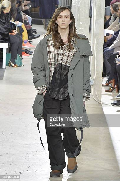 A model walks the runway at the Lanvin Autumn Winter 2017 fashion show during Paris Menswear Fashion Week on January 22 2017 in Paris France
