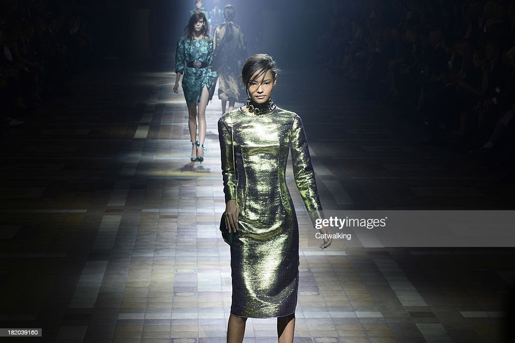 A model walks the runway at the Lanvin Spring Summer 2014 fashion show during Paris Fashion Week on September 26, 2013 in Paris, France.