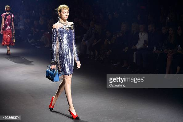 A model walks the runway at the Lanvin Spring Summer 2016 fashion show during Paris Fashion Week on October 1 2015 in Paris France
