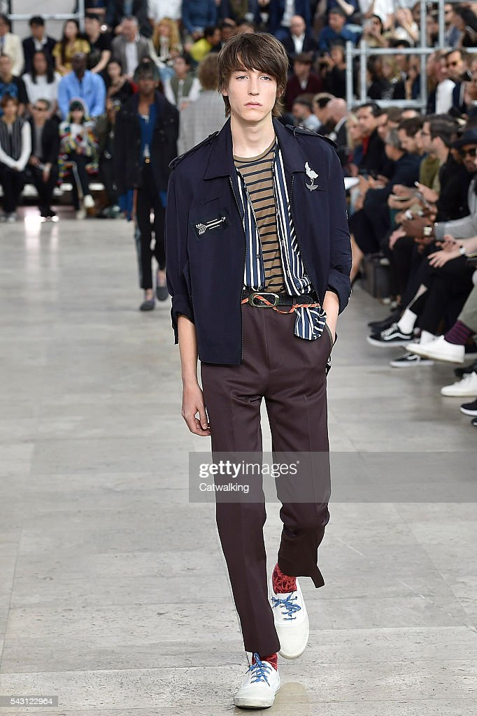 A model walks the runway at the Lanvin Spring Summer 2017 fashion show during Paris Menswear Fashion Week on June 26, 2016 in Paris, France.