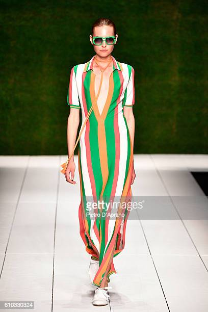A model walks the runway at the Laura Biagiotti show during Milan Fashion Week Spring/Summer 2017 on September 25 2016 in Milan Italy