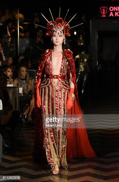 A model walks the runway at the Laurel DeWitt show during Fall 2016 New York Fashion Week at 1OAK on February 18 2016 in New York City