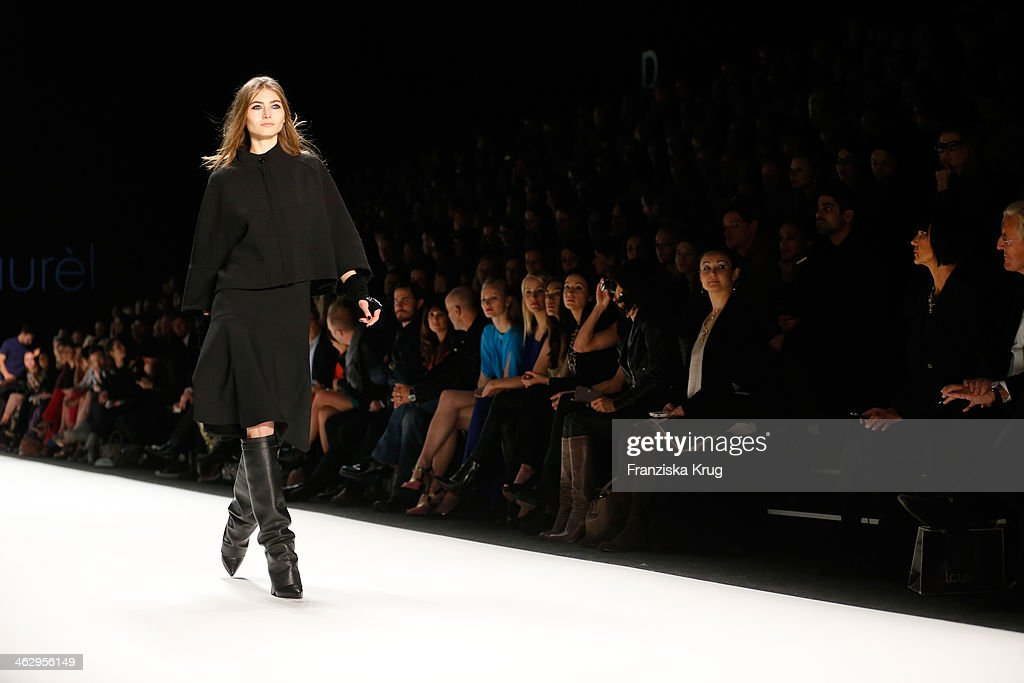 A model walks the runway at the Laurel show during Mercedes-Benz Fashion Week Autumn/Winter 2014/15 at Brandenburg Gate on January 16, 2014 in Berlin, Germany.