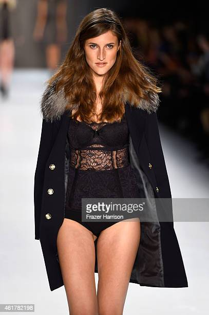 A model walks the runway at the Laurel show during the MercedesBenz Fashion Week Berlin Autumn/Winter 2015/16 at Brandenburg Gate on January 19 2015...