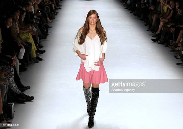A model walks the runway at the Laurel show during the MercedesBenz Fashion Week Berlin at Brandenburg Gate on January 19 2015 in Berlin Germany