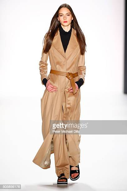 A model walks the runway at the Laurel show during the MercedesBenz Fashion Week Berlin Autumn/Winter 2016 at Brandenburg Gate on January 20 2016 in...