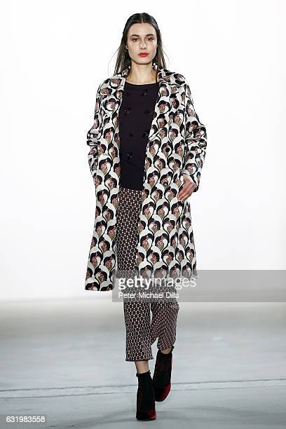 A model walks the runway at the Laurel show during the MercedesBenz Fashion Week Berlin A/W 2017 at Kaufhaus Jandorf on January 18 2017 in Berlin...