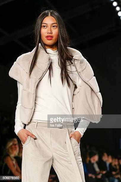 A model walks the runway at the Laurel Show MercedesBenz Fashion Week Berlin Autumn/Winter 2016 on January 20 2016 in Berlin Germany