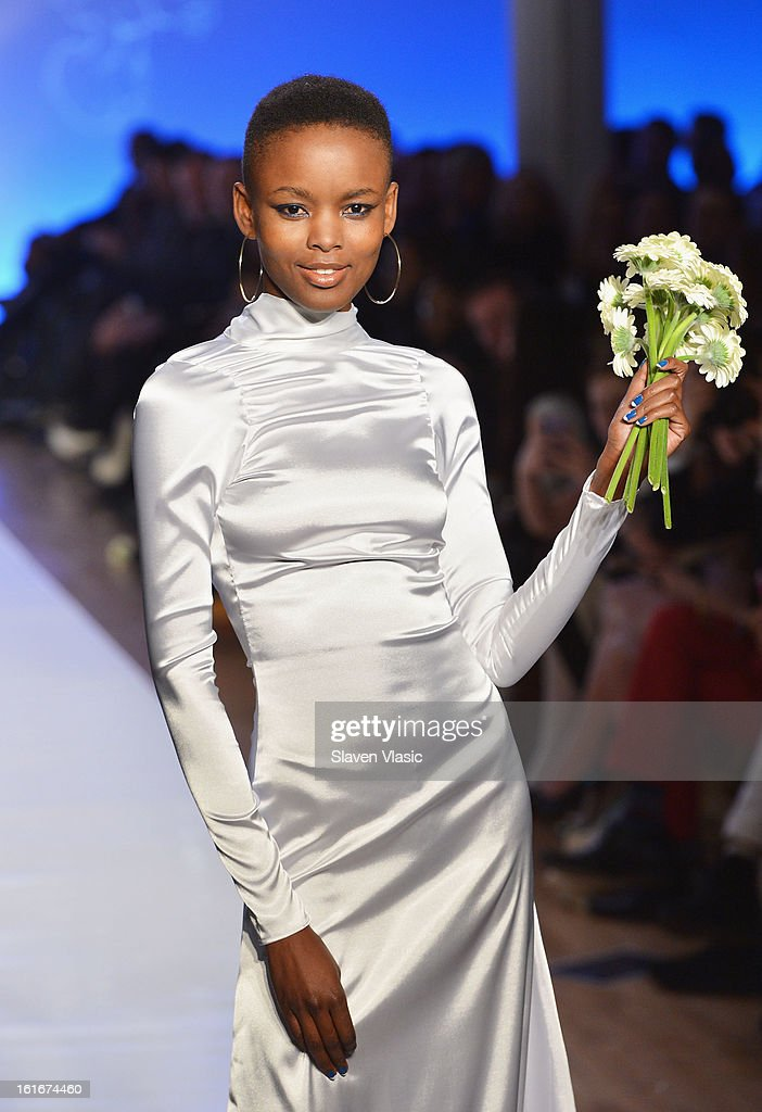 A model walks the runway at the Le Smurfette fall 2013 fashion show during Conair Style360 at Metropolitan Pavilion on February 13, 2013 in New York City.