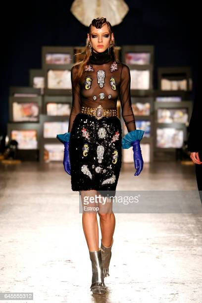 A model walks the runway at the Leitmotiv designed by Juan Caro Fabio Sasso show during Milan Fashion Week Fall/Winter 2017/18 on February 25 2017 in...