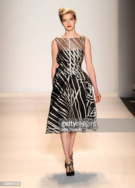 A model walks the runway at the Lela Rose Fall 2012 fashion show for Payless during MercedesBenz Fashion Week at The Studio at Lincoln Center on...
