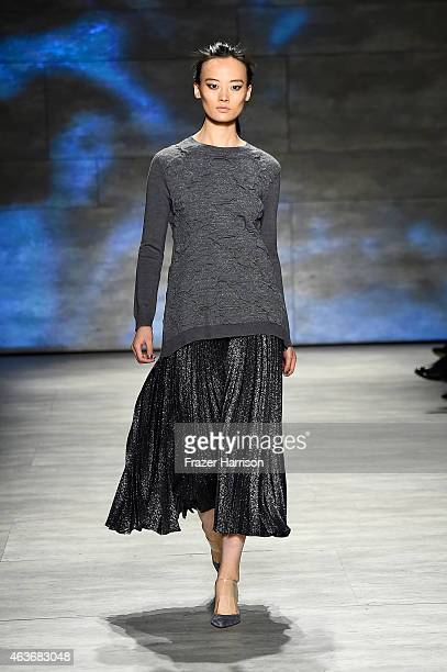 A model walks the runway at the Lela Rose fashion show during MercedesBenz Fashion Week Fall 2015 at The Pavilion at Lincoln Center on February 17...