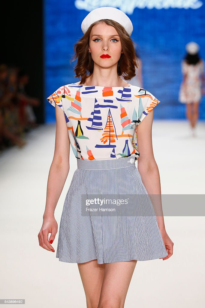 A model walks the runway at the Lena Hoschek show during the Mercedes-Benz Fashion Week Berlin Spring/Summer 2017 at Erika Hess Eisstadion on June 30, 2016 in Berlin, Germany.