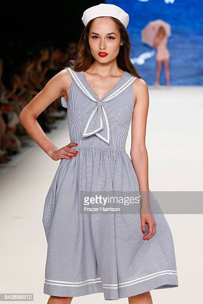 A model walks the runway at the Lena Hoschek show during the MercedesBenz Fashion Week Berlin Spring/Summer 2017 at Erika Hess Eisstadion on June 30...