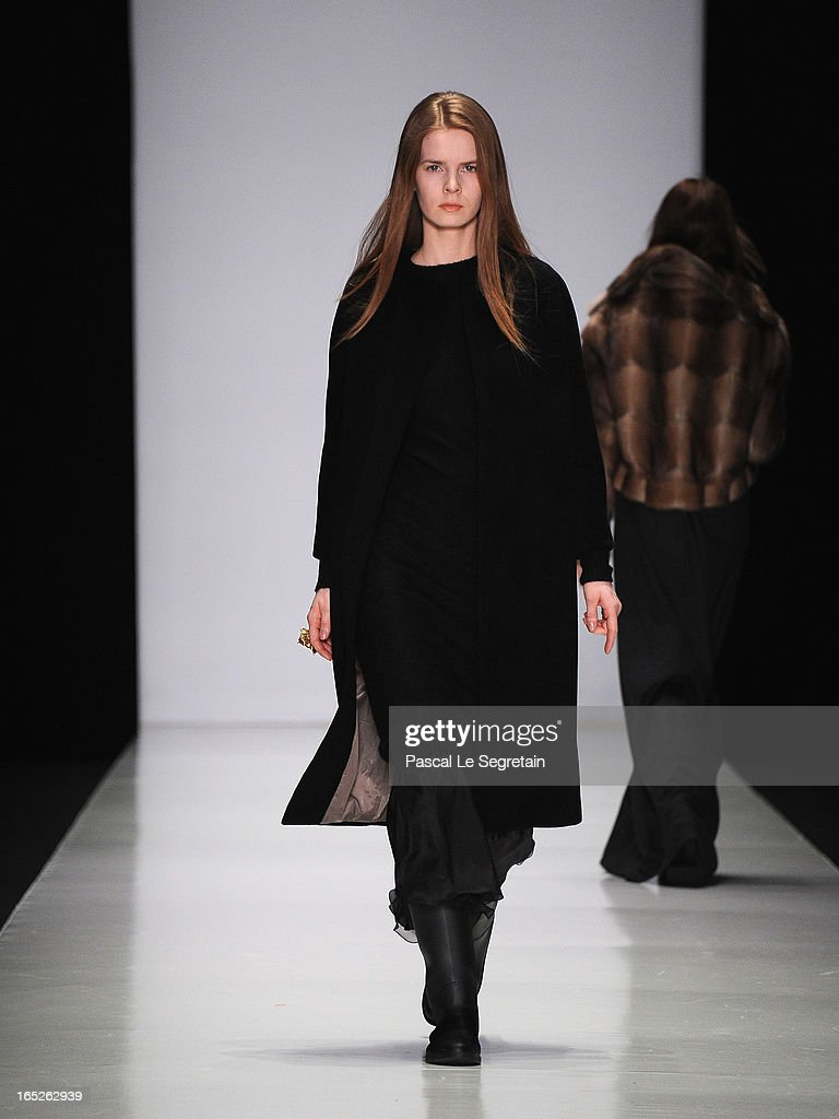 A model walks the runway at the Lena Tsokalenko show during Mercedes-Benz Fashion Week Russia Fall/Winter 2013/2014 at Manege on April 2, 2013 in Moscow, Russia.