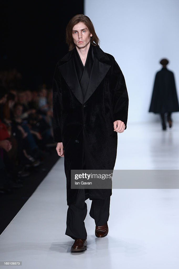 A model walks the runway at the Leonid Alexeev show during Mercedes-Benz Fashion Week Russia Fall/Winter 2013/2014 at Manege on March 30, 2013 in Moscow, Russia.