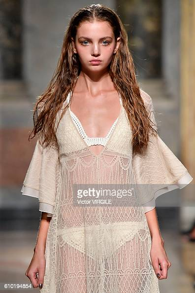 A model walks the runway at the Les Copains designed by Albino D'Amato show during Milan Fashion Week Spring/Summer 2017 on September 22 2016 in...