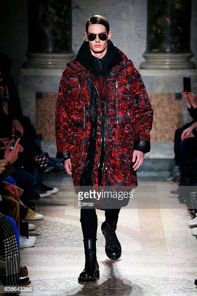 A model walks the runway at the Les Hommes designed by Tom Notte Bart van de Bosch show during Milan Men's Fashion Week Fall/Winter 2017/18 on...