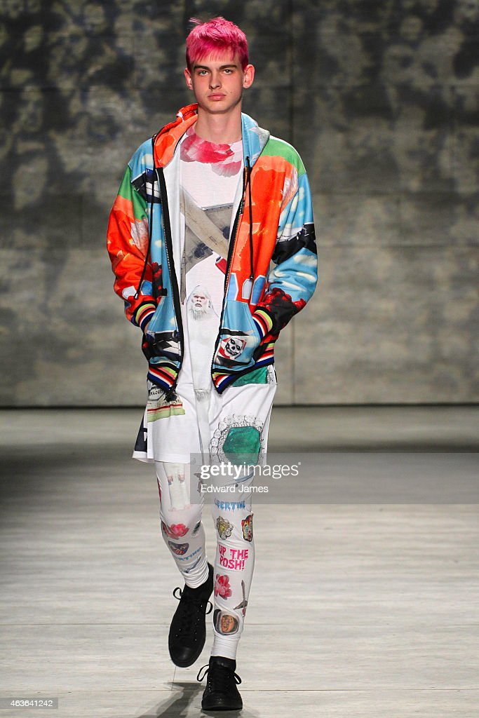 A model walks the runway at the Libertine fashion show during Mercedes-Benz Fashion Week Fall 2015 at The Pavilion at Lincoln Center on February 16, 2015 in the Brooklyn borough of New York City.