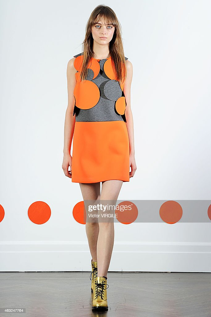 A model walks the runway at the Lisa Perry Presentation during MercedesBenz Fashion Week Fall 2015 on February 11 2015 in New York City