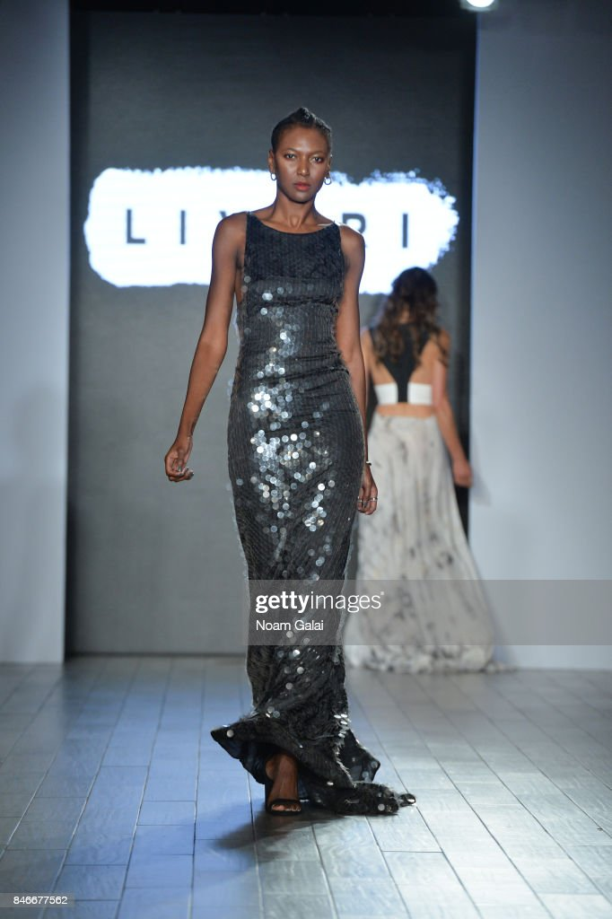 A model walks the runway at the Livari By Alysia Reiner, Claudine De Sola & Tabitha St. Bernard-Jacobs fashion show during New York Fashion Week: Style360 at Metropolitan Pavilion on September 13, 2017 in New York City.