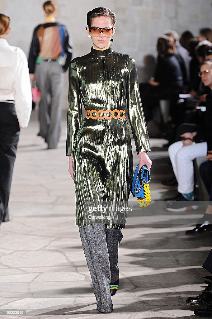A model walks the runway at the Loewe Autumn Winter 2015 fashion show during Paris Fashion Week on March 6 2015 in Paris France