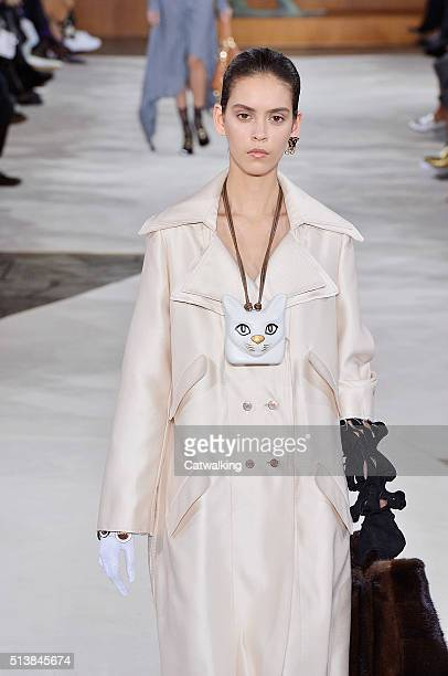 A model walks the runway at the Loewe Autumn Winter 2016 fashion show during Paris Fashion Week on March 4 2016 in Paris France