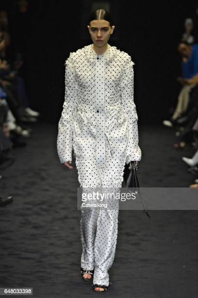 A model walks the runway at the Loewe Autumn Winter 2017 fashion show during Paris Fashion Week on March 3 2017 in Paris France