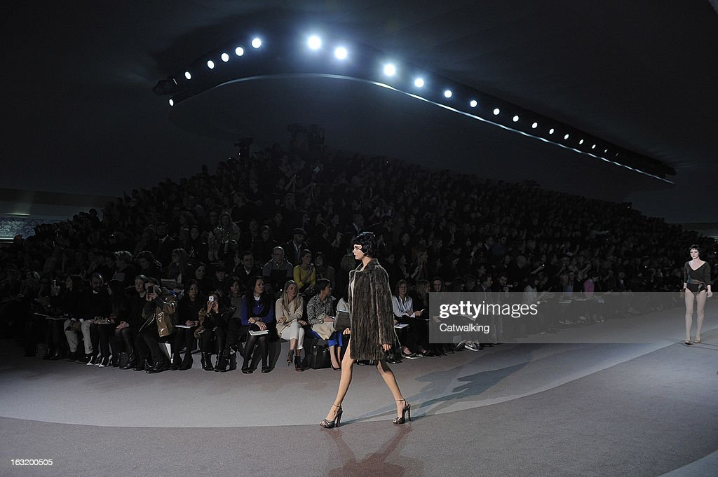 A model walks the runway at the Louis Vuitton Autumn Winter 2013 fashion show during Paris Fashion Week on March 6, 2013 in Paris, France.