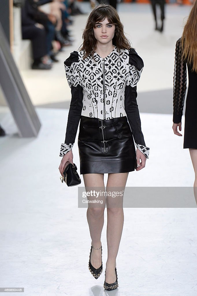 louis vuitton 2015. a model walks the runway at louis vuitton autumn winter 2015 fashion show during paris
