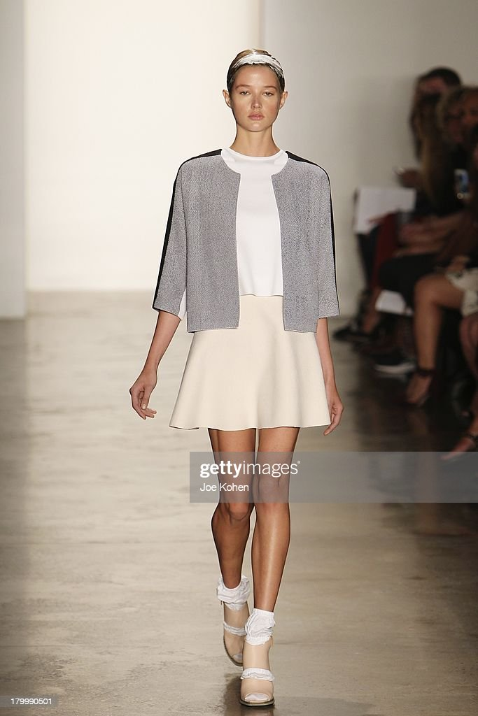 A model walks the runway at the Louise Goldin fashion show during MADE Fashion Week Spring 2014 at Milk Studios on September 7, 2013 in New York City.