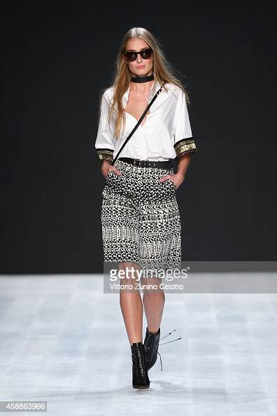 A model walks the runway at the Lug von Siga show during the MercedesBenz Fashion Days Zurich 2014 on November 12 2014 in Zurich Switzerland