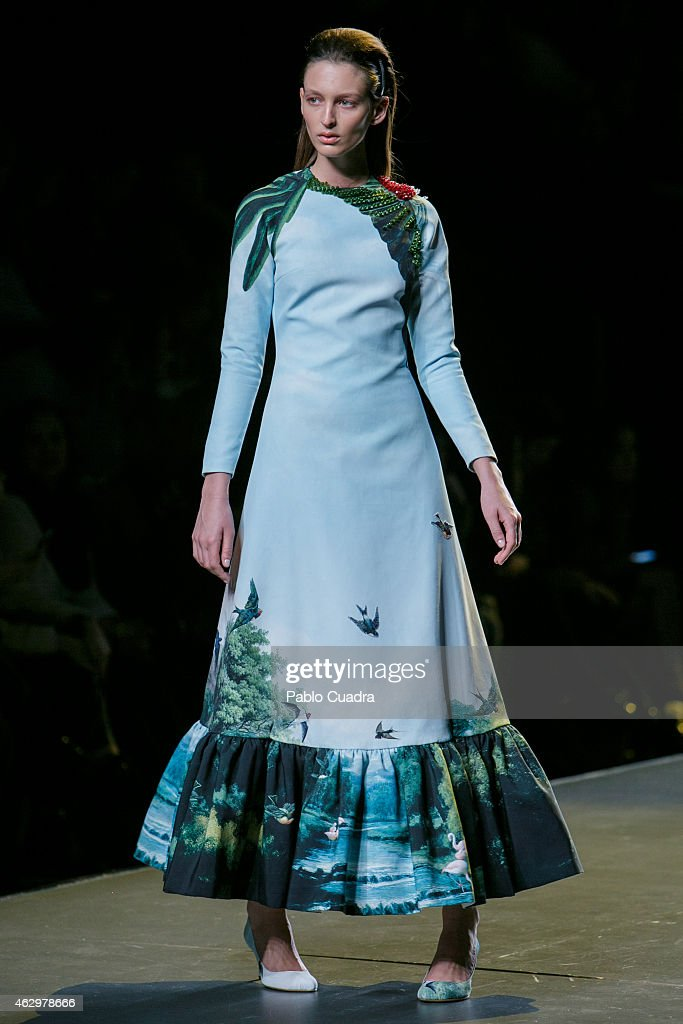 A model walks the runway at the Luke Leandrocano show during Madrid Fashion Week Fall/Winter 2015/16 at Ifema on February 8 2015 in Madrid Spain