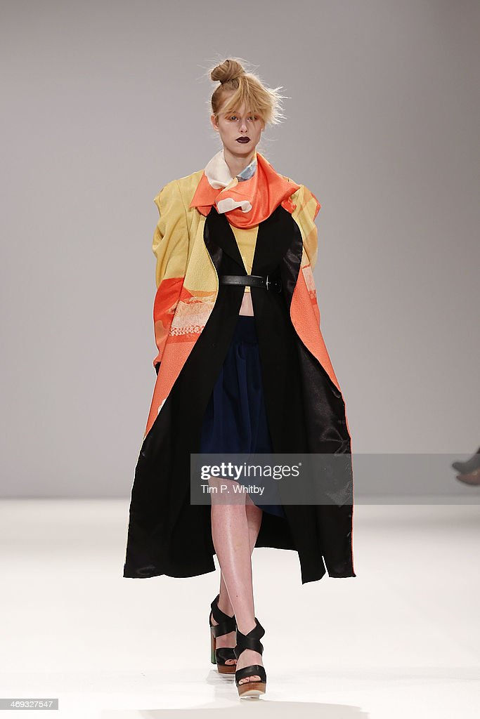 A model walks the runway at the Lulu Liu show at the Fashion Scout venue during London Fashion Week AW14 at Freemasons Hall on February 14, 2014 in London, England.