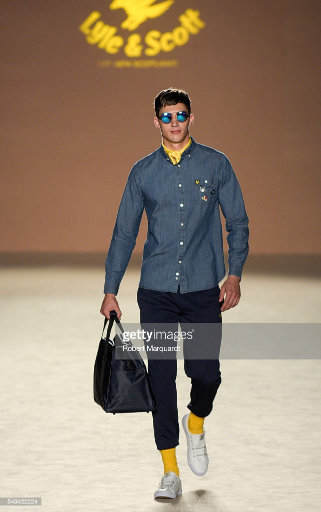 A model walks the runway at the Lyle & Scott show during the Barcelona 080 Fashion Week Spring/Summer 2017 at the INFEC on June 28, 2016 in Barcelona, Spain.