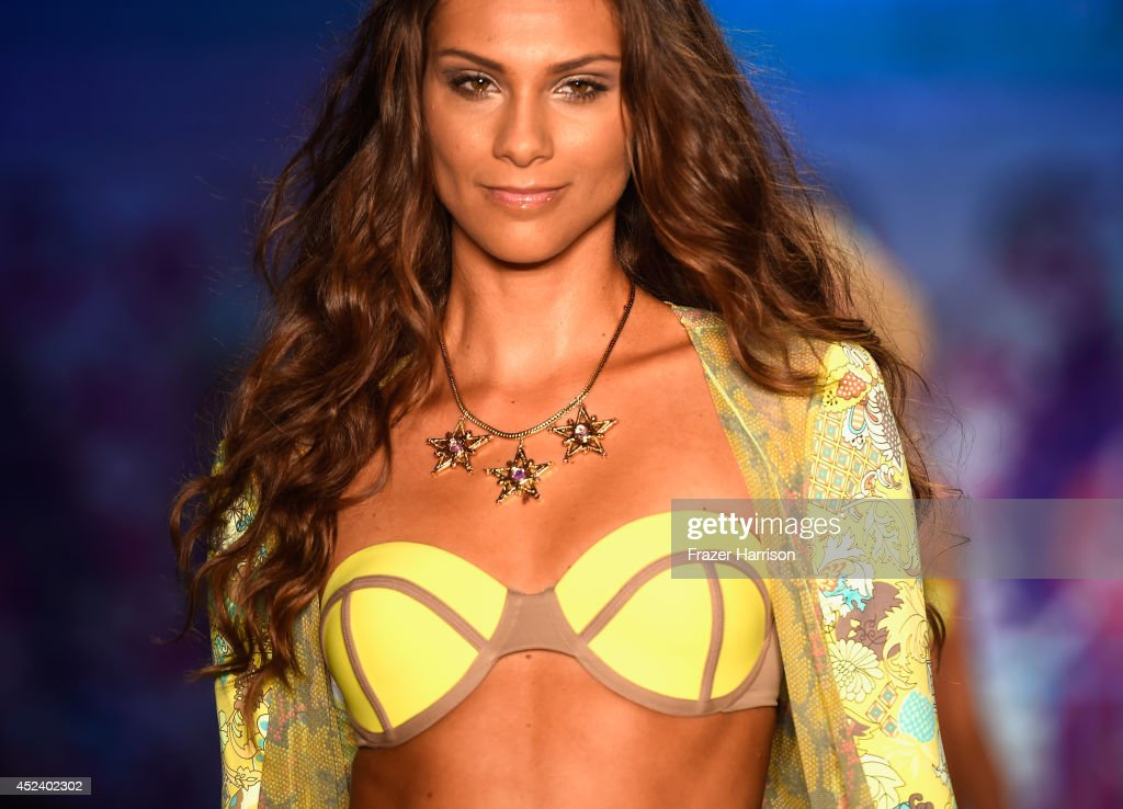 A model walks the runway at the Maaji Swimwear fashion show during MercedesBenz Fashion Week Swim 2015 at Oasis at The Raleigh on July 19 2014 in...