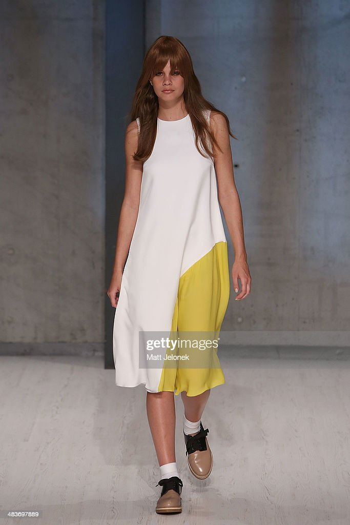 A model walks the runway at the Macgraw show at Mercedes-Benz Fashion Week Australia 2014 at on April 10, 2014 in Sydney, Australia.