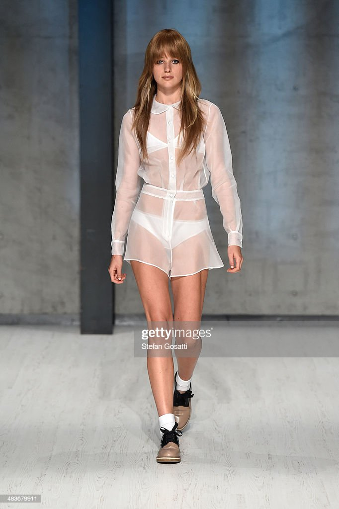 A model walks the runway at the MacGraw show during Mercedes-Benz Fashion Week Australia 2014 at Carriageworks on April 10, 2014 in Sydney, Australia.