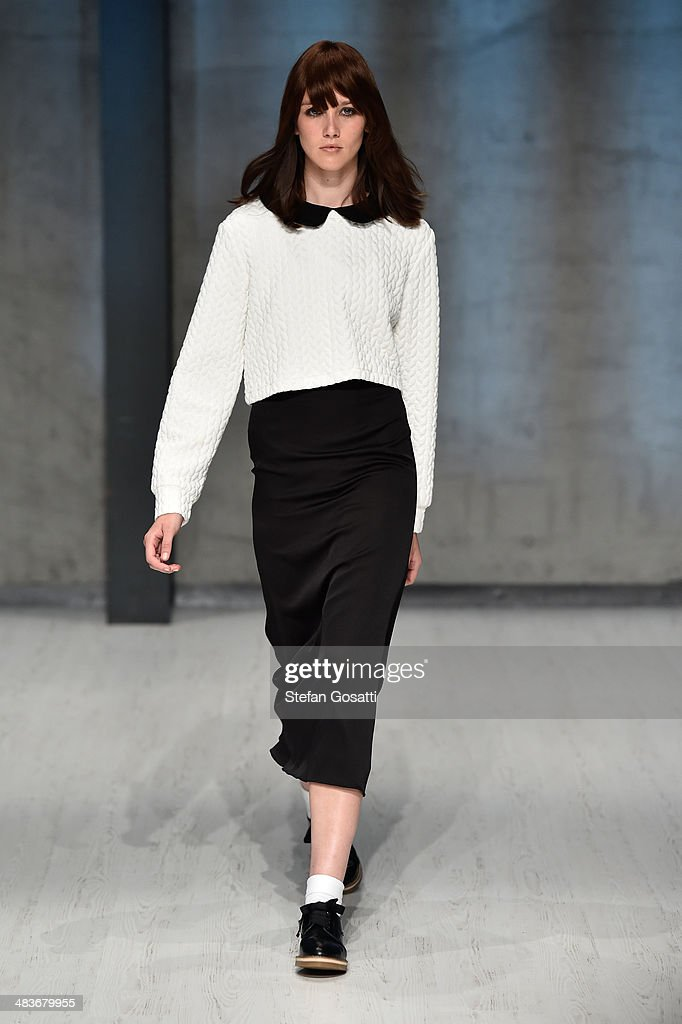 A model walks the runway at the MacGraw show during MercedesBenz Fashion Week Australia 2014 at Carriageworks on April 10 2014 in Sydney Australia