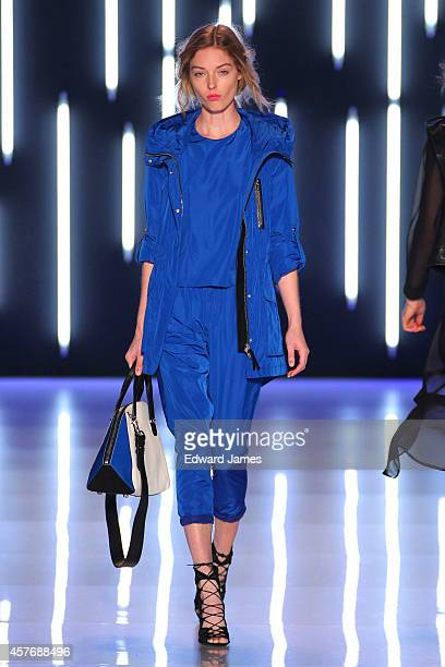 A model walks the runway at the Mackage Spring/Summer 2015 fashion show during World Mastercard Fashion Week at David Pecaut Square on October 22...