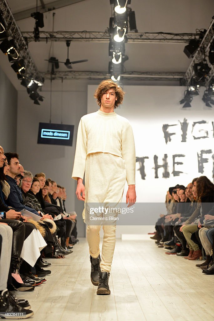 A model walks the runway at the Mads Dinesen show during Mercedes-Benz Fashion Week Autumn/Winter 2014/15 at Brandenburg Gate on January 17, 2014 in Berlin, Germany.