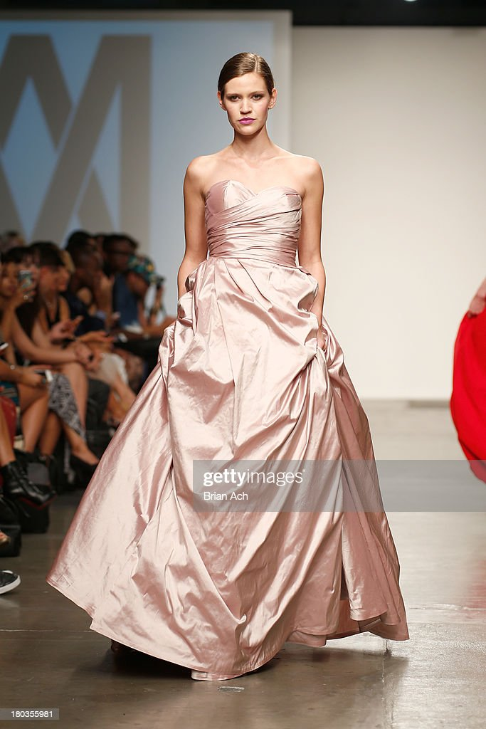 A model walks the runway at the Magdalena Adriane show during Nolcha Fashion Week New York Spring/Summer 2014 presented by RUSK at Pier 59 Studios on September 11, 2013 in New York City.