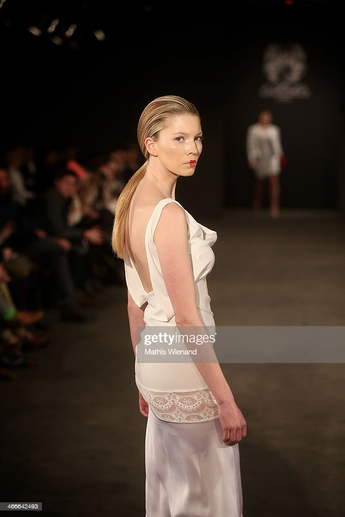 A model walks the runway at the Maison Anoufa fashion show during Platform Fashion Dusseldorf on February 2, 2014 in Dusseldorf, Germany.